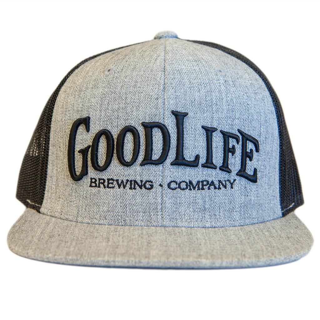 b45370555bfd6 GoodLife Black   Grey Flatbill Trucker Snapback Hat - GoodLife ...
