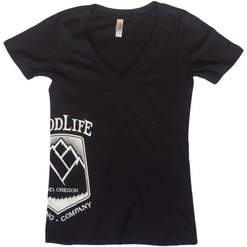 Womens-Black-V-Neck-with-White-Hop-Mountain-on-Side