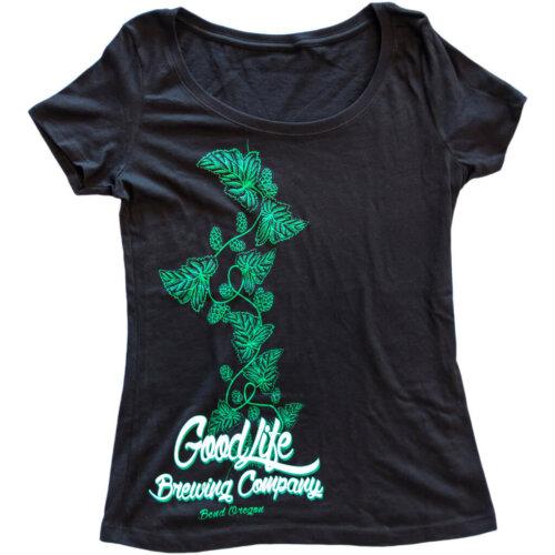 Women's-Black-Scoop-Neck-with-Green-Hop-Vine