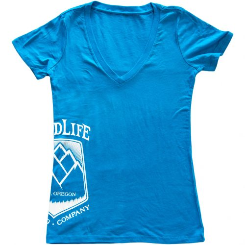 Women's-Turquoise-V-Neck-with-White-GoodLife-Logo-on-side