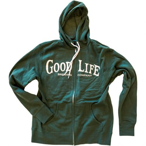 Alpine-Green-Zip-Up-Hoodie-with-GoodLife-Word-Mark-on-Front-and-GoodLife-Crest-Logo-on-Back