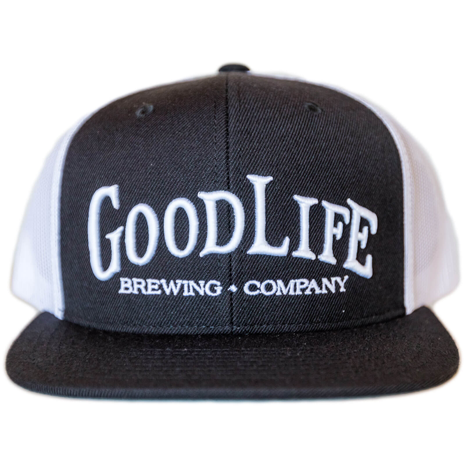 db197e5d106 Goodlife Brewing Black And White Flatbill Cap Perfect Trucker Hat