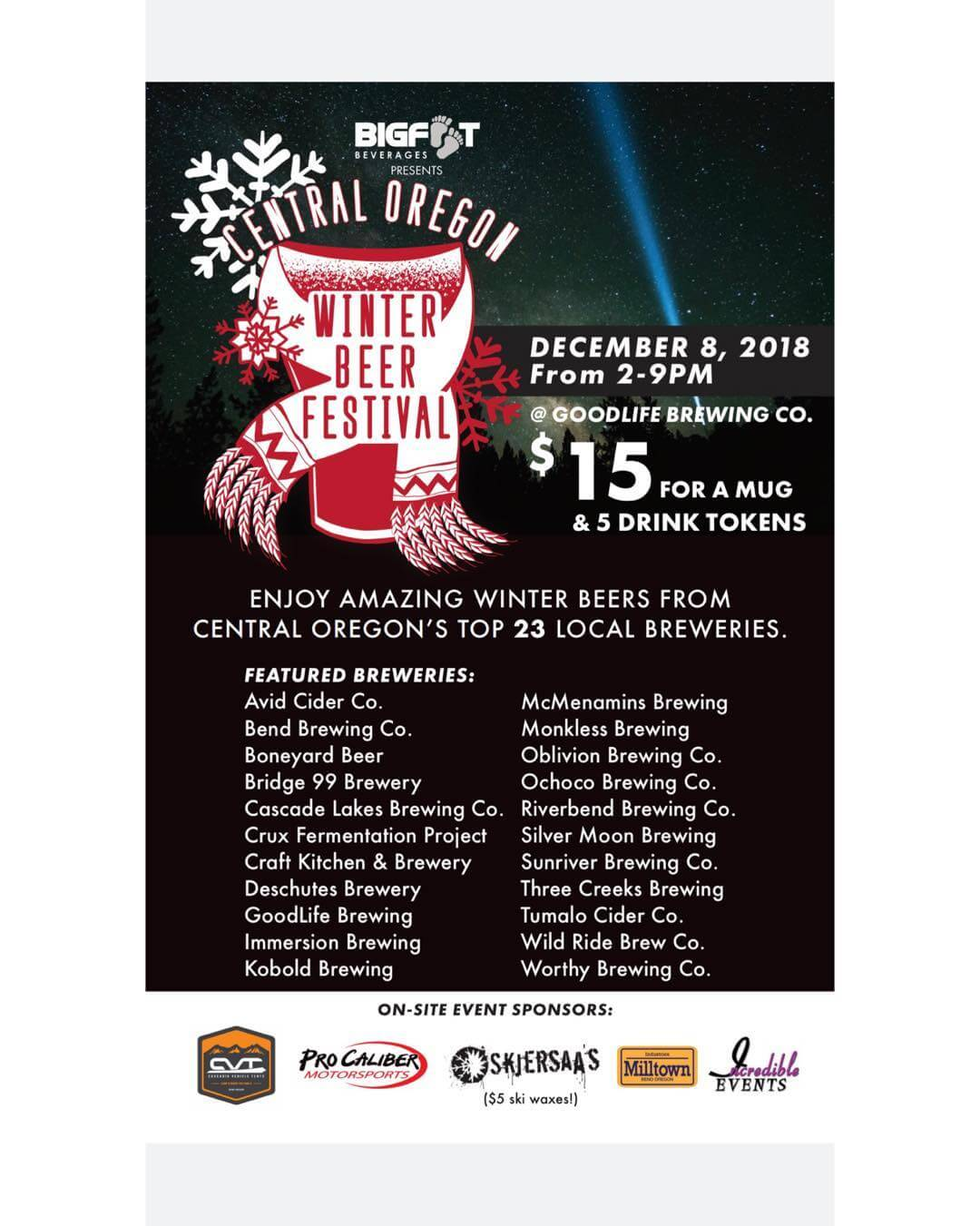 The 6th Annual Central Oregon Winter Beer Festival presented by @bigfootbeverages is less than 24 hours away and this year is shaping up to be the best yet! Tone Red is playing from 4:30pm-7:00pm while @bigskispierogi @parrillagrillbend and @dasbrat.wagen are serving delicious food all day! @cvttents and @procaliber_bend will be showcasing their goods and @skjersaas will be waxing skis and snowboards for $5. 100% of the proceeds of the event goes to the Central Oregon Brewers Guild so grab some friends and let's raise some money tomorrow! #cowbf18