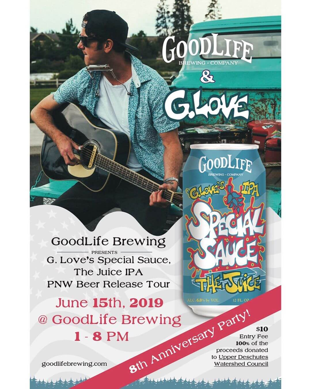 It's been hard to keep this quiet but we are stoked to finally announce the shows for this years GoodLife Brewing presents @phillyglove's Special Sauce- The Juice IPA PNW Beer Release Tour!  G. Love will be playing at our 8th Anniversary Party on Saturday, June 15th from 3pm-5pm. Tickets will be sold the day of in the biergarten and are $10, which includes a free beverage. All ticket proceeds are being donated to the Upper Deschutes Watershed Council to help their fight of keeping our waters clean. There is limited space for this show so we recommend getting here early to get your ticket!  Tuesday, June 18th G. Love will be jamming out @biersteineugene and we can't wait to drink some Juice with Eugene, OR! Last years show at the Stein was unreal so you won't want to miss it!  Wednesday, June 19th we'll be in Tacoma, WA where G. Love will be playing @almamatertacoma from 7pm-9pm. This venue is incredible and we can't wait to live the GoodLife and party down will y'all!