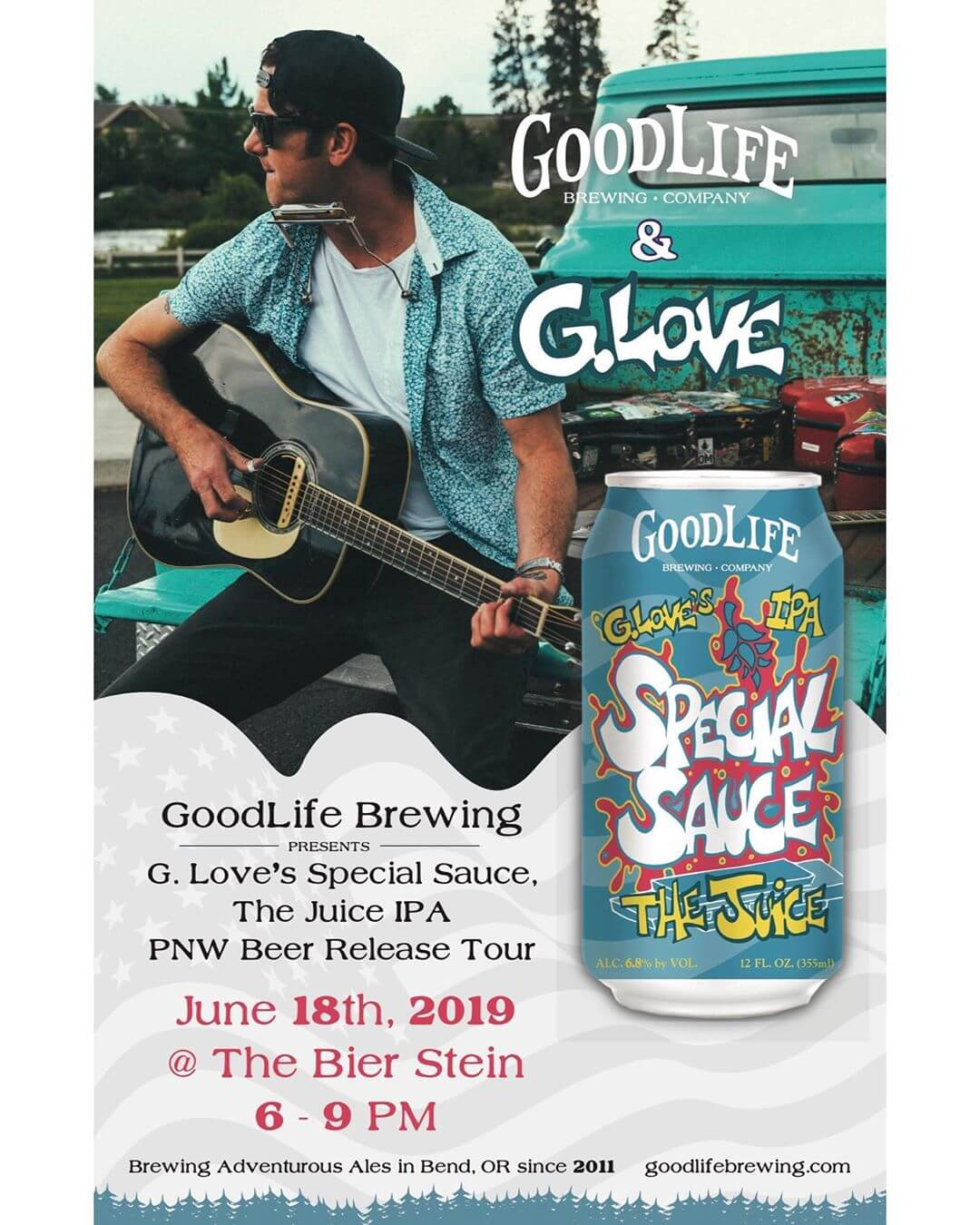 The GoodLife Juice Tour continues tonight @biersteineugene and @phillyglove is getting ready to go on soon! If you're in #eugeneoregon get on down here for an epic free show!