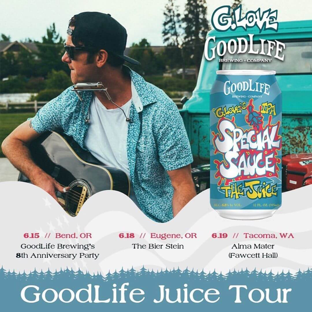 The Juice Tour starts in a few days and we hope to see you there! We're doing three shows this year and here's the info on how to see one (or more): 6/15/19 @goodlifebrewing 8th Anniversary Party from 1pm-8pm. Tickets are $10 which includes a free beverage and 100% of tickets sales are being donated to @restorethedeschutes  6/18/19 @biersteineugene from 6pm-9pm. Free show!  6/19/19 @almamatertacoma from 6pm-9pm. Tickets are $5 and 100% of tickets sales are being donated to the @southsoundsurfrider. Click the link in our bio to buy your ticket now!  This harmonious collaboration will be hitting shelves in OR, WA, ID, and VT in cans and limited kegs through September.  If you live outside of those states, our good friends @tavour will have it available for shipment to the following states: CA CO NV NM OH WI NY NE DC MA FL PA NH NJ. Click the link in our bio or follow them for details on how to sign up to get your hands on the #juiceipa