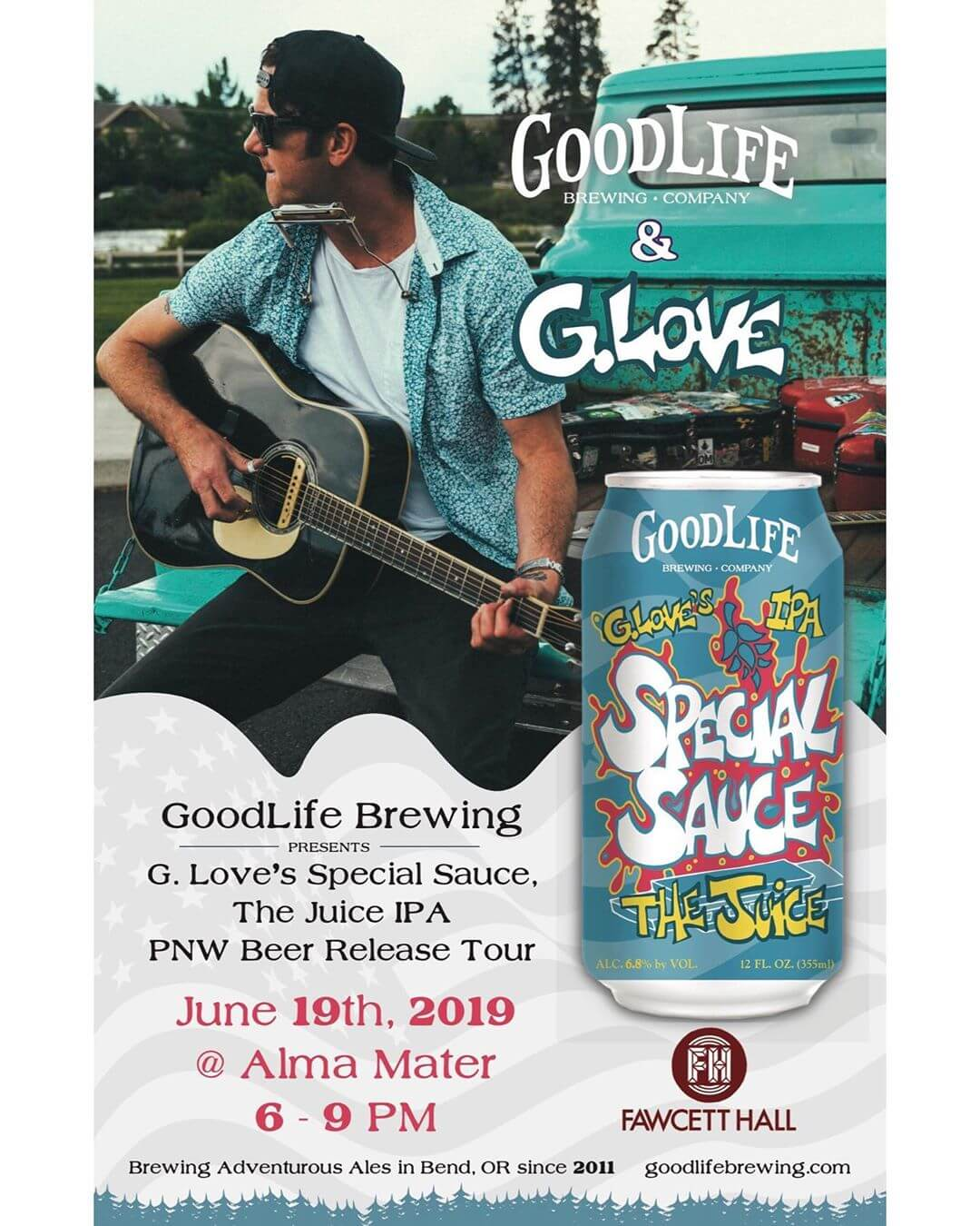 We have the last stop on the GoodLife Juice Tour tonight in #tacoma @almamatertacoma! Tickets are $5 which is being donated to the @southsoundsurfrider so they can help keep our waters clean. Doors open at 6pm and tickets are available for sale via the link in our bio! The Juice is loose and we hope to see you there!