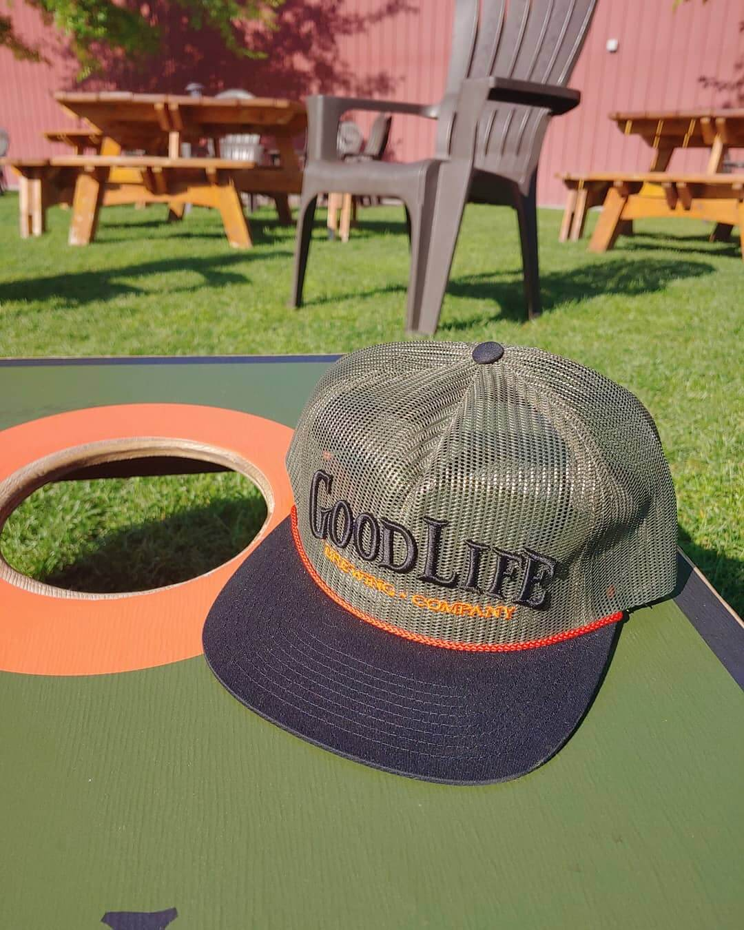 All Mesh Flatbill Trucker comin at ya! Find it at our pub or online in our Shop!  https://www.goodlifebrewing.com/product/all-mesh-flatbill-in-hunter-green-black-and-orange/
