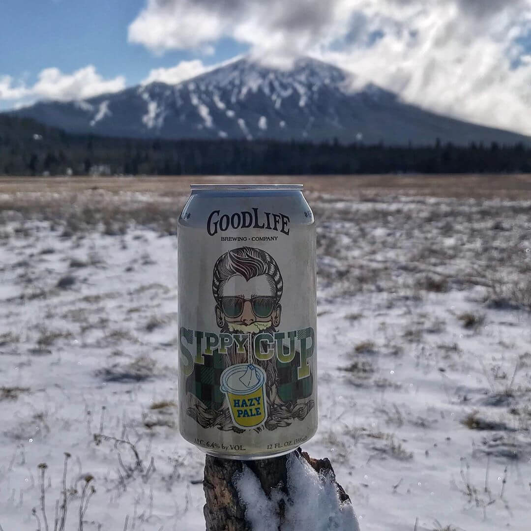 Newly released Sippy Cup Hazy Pale cans out in the wild getting to experience their first taste of the GoodLife! #goodlifebrewing #sippycuphazypale