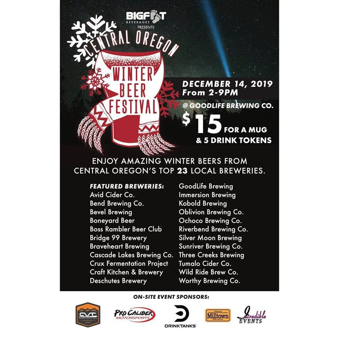 "We are a few days away from the 7th Annual Central Oregon Winter Beer Festival presented by @bigfootbeverages.  COWBF is a fundraiser for the Central Oregon Brewers Guild, COBG, which works to bring outside awareness to Central Oregon by focusing on our local craft beer culture, with a mission to drive tourism and commerce to Central Oregon, as well as surrounding Oregon communities. The COBG is composed of people working at Central Oregon breweries and was formed to give Central Oregon beer a united voice.  We are excited to announce that @procaliber_bend and @cvttents who will be bringing some of their goods to show off. @milltown_industries has kindly donated firewood to keep us warm all day and night! In addition to toys and gear, we'll have @bigskispierogi , Avid wings, and GoodLife Brewing's food truck on-site serving up delicious food.  Admission to COWBF will be $15.00 and attendees will receive a commemorative COWBF mug, as well as 5 drink tokens. We are excited to announce that DrinkTanks will be making a limited run of COWBF tumblers that will be available for $20, in addition to 5 drink tokens.  Each additional token will cost $1.00.  We are excited to announce that @sideabrewing and @bendcider will also be joining us this year!  Volunteers are still needed and if you want to help out, please email cobg.lou@<span class=""oe_displaynone"">null</span>gmail.com!  @avidcidercompany @bendbrewingco @bevelbeer @boneyardbeer @boneyardelixir @bossramblerbeerclub @bridge99brewery @braveheartbrewing @cascadelakesale @cruxfermentationproject @craftkitchenandbrewery @deschutesbrewery @immersionbrewing @koboldbrewing @oblivionbrewingco @ochocobeer @riverbend_brewing @silvermoonbrewing @sunriverbrewing @threecreeksbrewing @tumalocider @wildridebrew @worthybrewing @sideabrewing @bendcider"