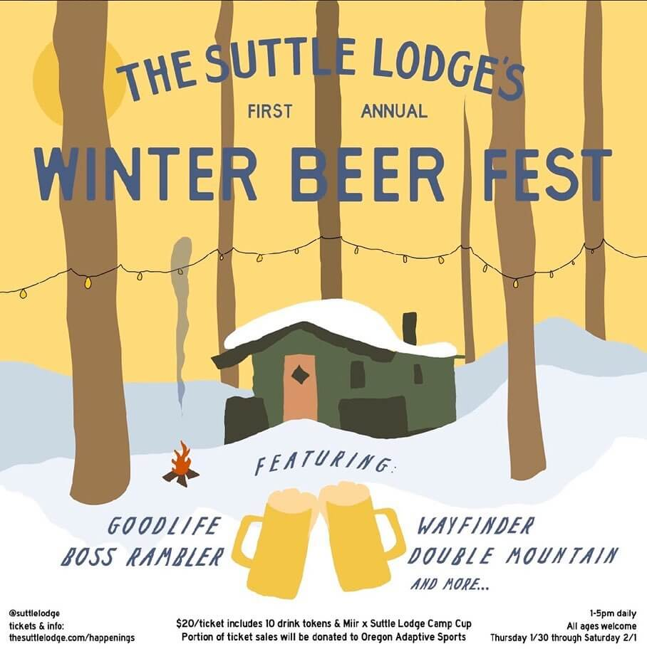 Join us for the first annual Winter Beer Fest at @suttlelodge tomorrow! Each of their Rustic Cabins will be filled with local Oregon breweries bringing you 3 days of ale and snacks on the grill — all under the pines of the Deschutes National Forest. Each ticket benefits @oregon_adaptive_sports & comes with a limited edition @miir x Suttle Lodge camp cup. $20 per ticket includes 10 drink tokens and access to all 3 days of the fest.  Boss Rambler Beer Club and GoodLife Brewing Co. are stoked to release this One and Only Unique Collaboration Ale for the first Annual Suttle Lodge Winter Brewfest. Wanting to bring the terroir of the mountains back to the brewery, we visited the Deschutes National Forest in Suttle Lake's backyard and hand selected Native Spruce Tips to include into the Wort Process (The brewery smelled like Spruce all Day!) The outcome is a Hop forward, Juicy Red IPA, with a subtle back-end spruce-like bitterness and aroma!  Ft. @goodlifebrewing, @bossramblerbeerclub, @wayfinderbeer, @doublemountain, @everybodysbrewing, @pfriembeer, @wildridebrew, @breaksidebrews, @stormbreakerbrewing @littlebeastbrewing, @ninkasibrewing, @heaterallenbeer & more.  Thursday 1/30 – Saturday 2/1 from 1-5pm daily. #slwinterbeerfest