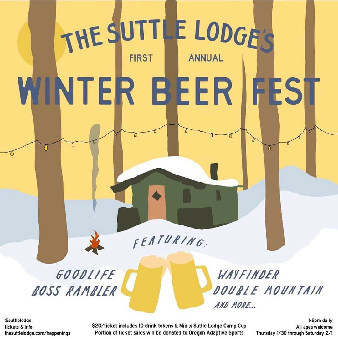 Join us for the first annual Winter Beer Fest at @suttlelodge! Each of their Rustic Cabins will be filled with local Oregon breweries bringing you 3 days of ale and snacks on the grill — all under the pines of the Deschutes National Forest. Each ticket benefits @oregon_adaptive_sports & comes with a limited edition @miir x Suttle Lodge camp cup. $20 per ticket includes 10 drink tokens and access to all 3 days of the fest.  Ft. @goodlifebrewing, @bossramblerbeerclub, @wayfinderbeer, @doublemountain, @everybodysbrewing, @pfriembeer, @wildridebrew, @breaksidebrews, @stormbreakerbrewing @littlebeastbrewing, @ninkasibrewing, @heaterallenbeer & more.  Thursday 1/30 – Saturday 2/1 from 1-5pm daily. #SLwinterbeerfest