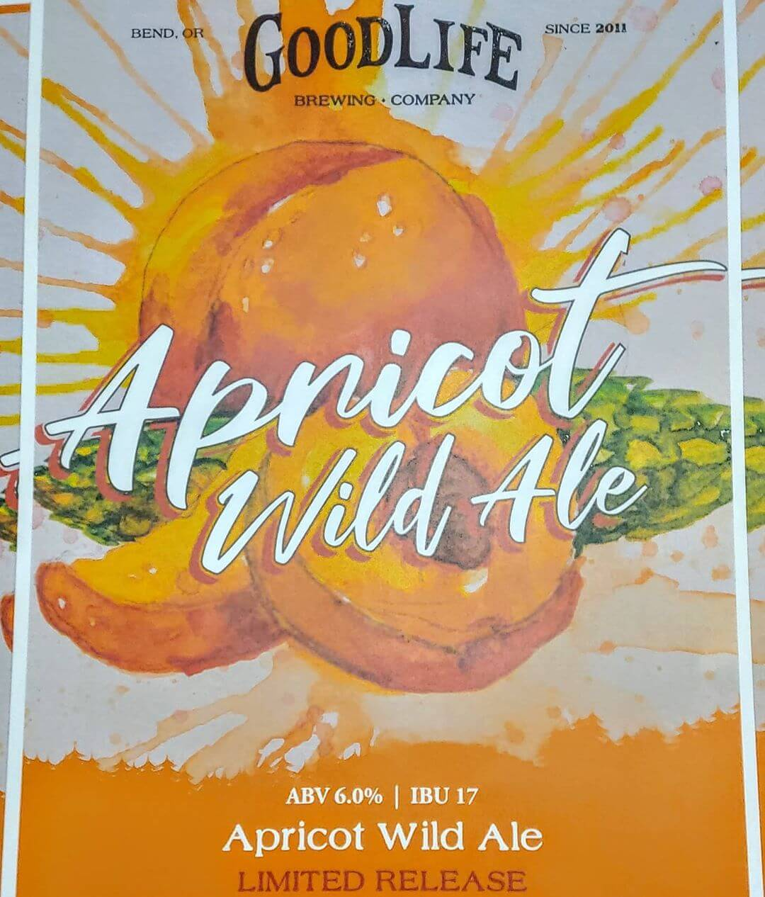"""Apricot Wild Ale: The latest project from our """"In the Woods"""" Barrel-Aged Beer Program. Apricot Wild Ale is a light ale fermented on Brettanomyces, a wild yeast strain producing classic Belgian flavors and aromas. Our brewers then refermented this wild yeast beer on a pound per gallon of Apricot Puree! What we ended up with is a very fruit-forward and refreshing barrel-aged Beer, just in time for Summer! 🍑 Think of biting into a fresh juicy summer apricot.  ABV 6.0% IBU 17 Available in Draft, and 16oz Specialty Cans in the pub and online Oregon Beer by Mail soon."""