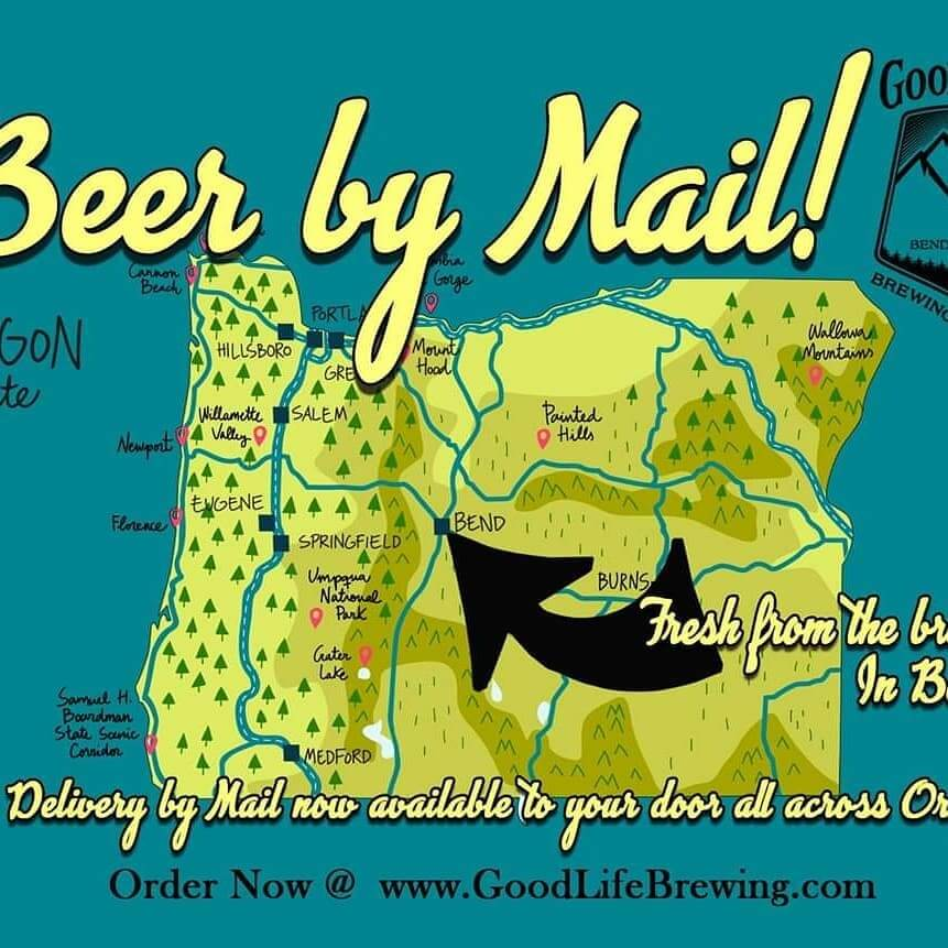 HEY OREGON! We are excited to offer Beer by Mail now shipped to you or your buddy's door!  We are only shipping to OREGON addresses at this time. More States to come, stay tuned.  Must be 21+ to place an order & ID required at delivery.  UPS Signature Required at delivery! Shop Now at https://www.goodlifebrewing.com/product-category/packaged-beer/