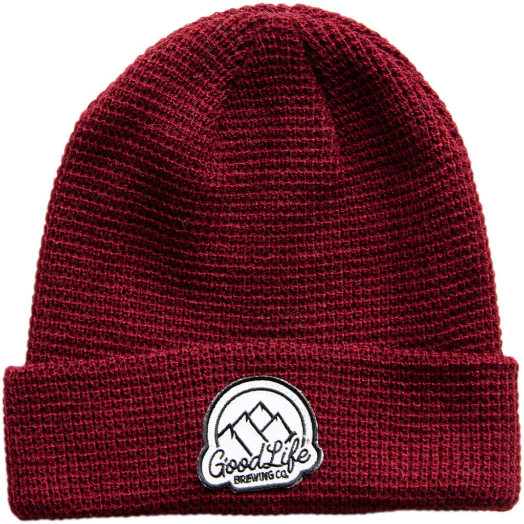Goodlife-Maroon-Waffle-Knit-Beanie-with-Patch-1